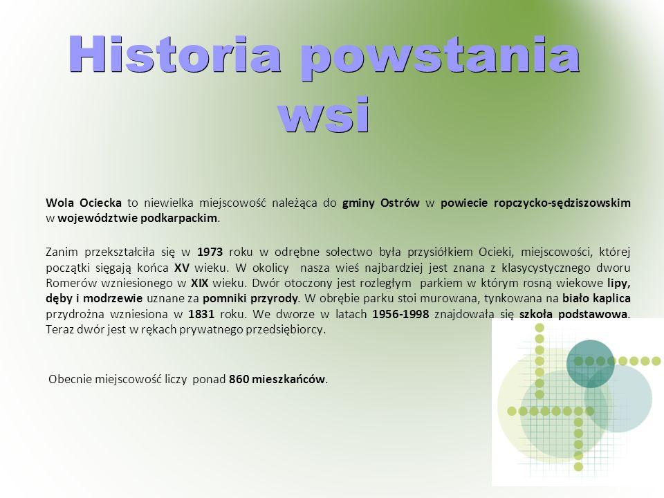 Historia powstania wsi Wola Ociecka to niewielka miejscowość należąca do gminy Ostrów w powiecie ropczycko-sędziszowskim w województwie podkarpackim.
