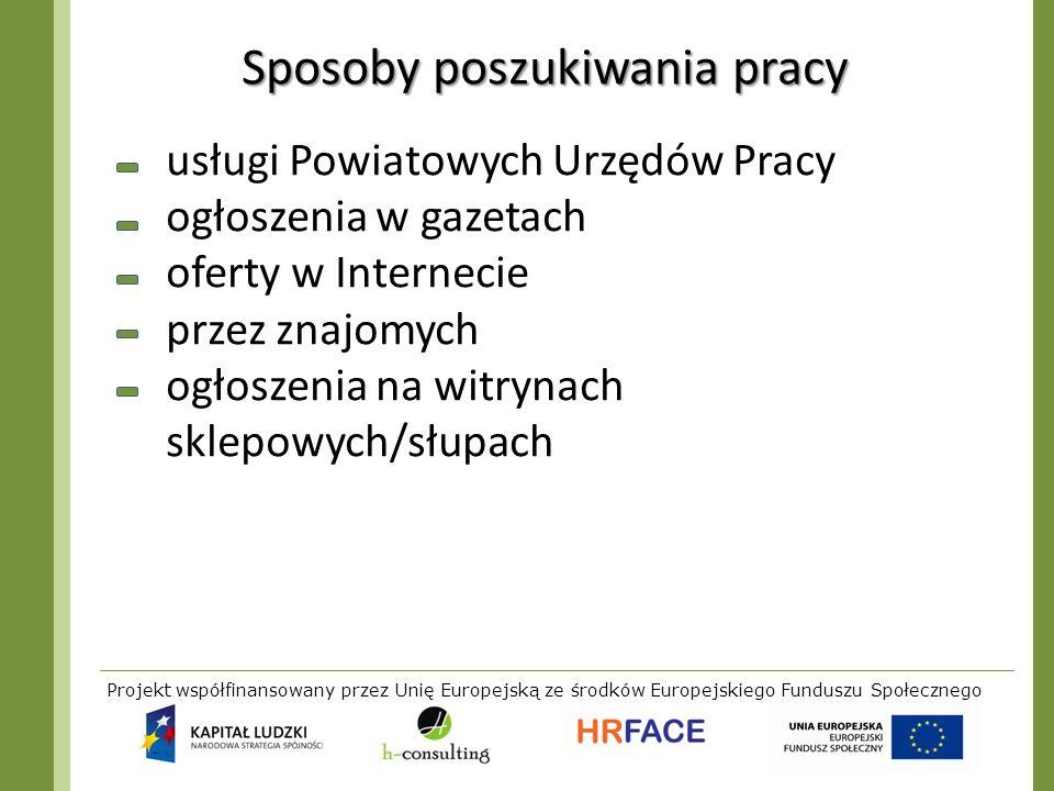 Projekt współfinansowany przez Unię Europejską ze środków Europejskiego Funduszu Społecznego Sposoby poszukiwania pracy usługi Powiatowych Urzędów Pra