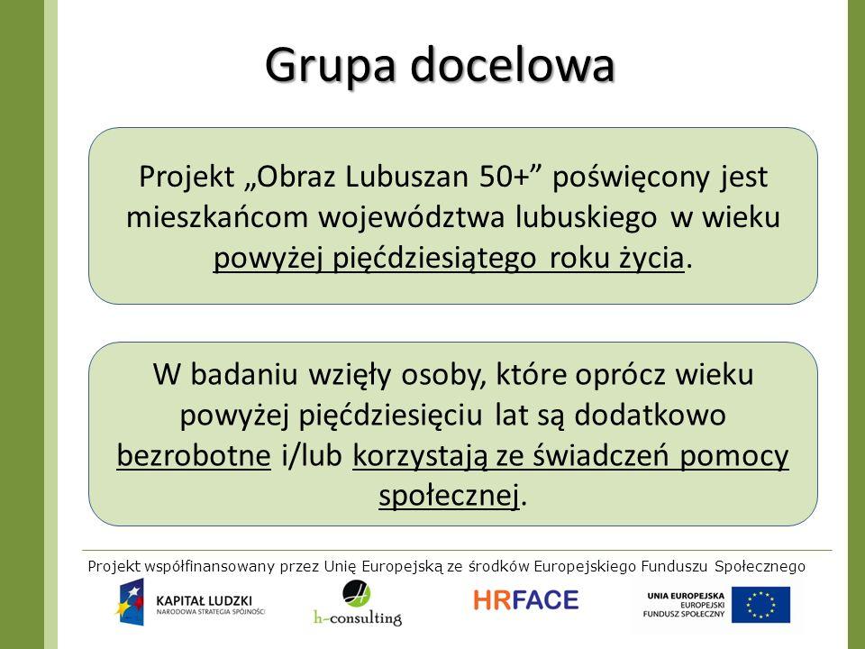 Projekt współfinansowany przez Unię Europejską ze środków Europejskiego Funduszu Społecznego Grupa docelowa Projekt Obraz Lubuszan 50+ poświęcony jest
