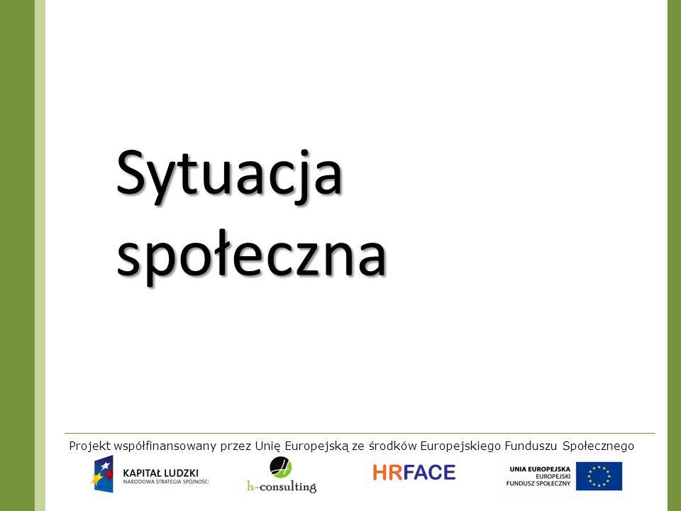 Projekt współfinansowany przez Unię Europejską ze środków Europejskiego Funduszu Społecznego Sytuacja społeczna