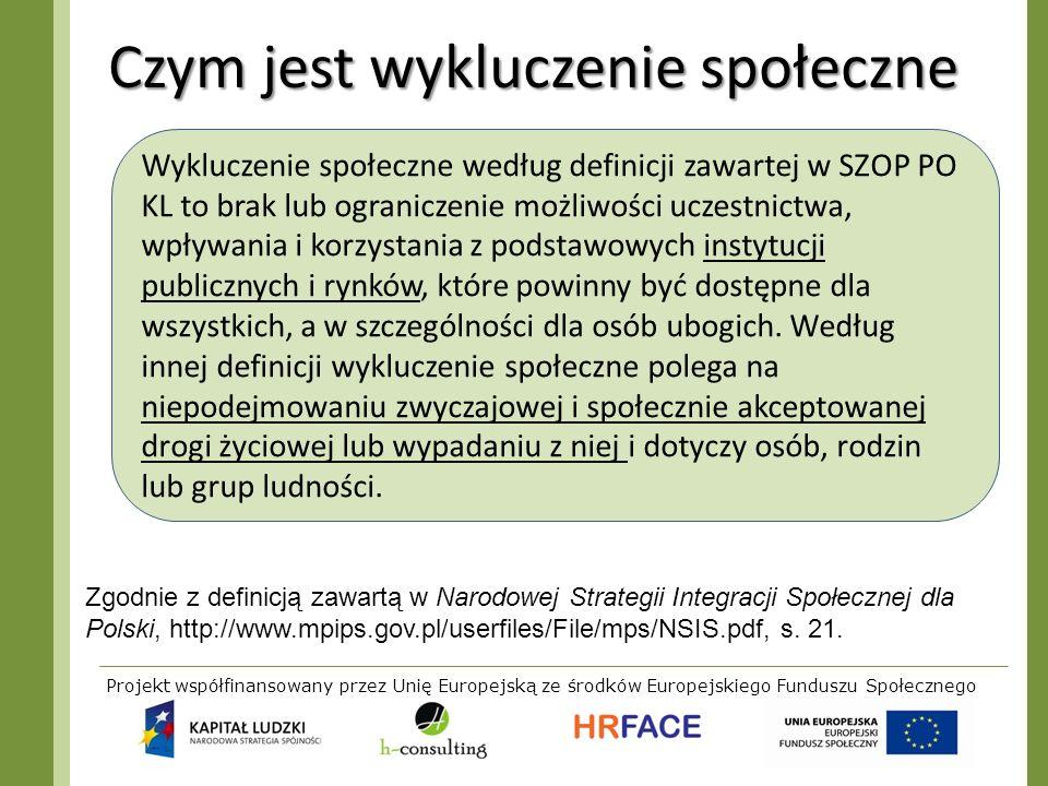 Projekt współfinansowany przez Unię Europejską ze środków Europejskiego Funduszu Społecznego Czym jest wykluczenie społeczne Zgodnie z definicją zawar