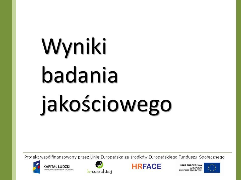Projekt współfinansowany przez Unię Europejską ze środków Europejskiego Funduszu Społecznego Wyniki badania jakościowego