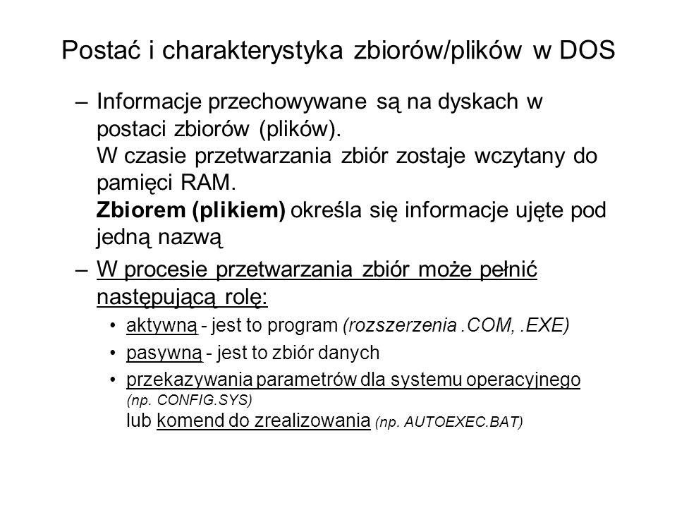 Postać i charakterystyka zbiorów/plików w DOS –Informacje przechowywane są na dyskach w postaci zbiorów (plików). W czasie przetwarzania zbiór zostaje