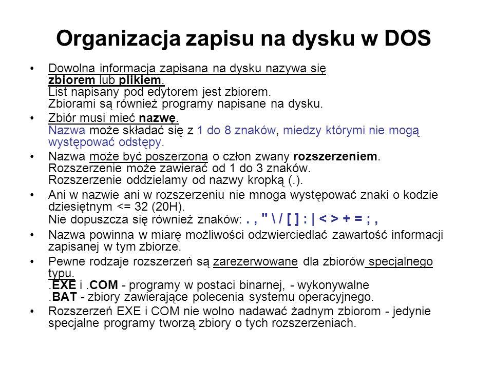 Organizacja zapisu na dysku w DOS Dowolna informacja zapisana na dysku nazywa się zbiorem lub plikiem. List napisany pod edytorem jest zbiorem. Zbiora