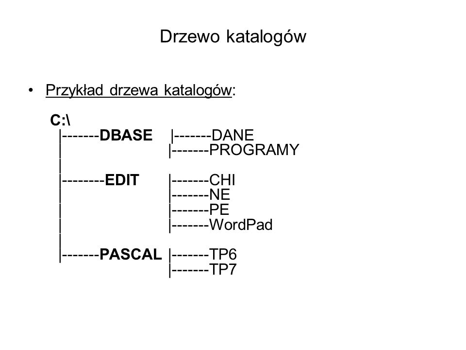 Drzewo katalogów Przykład drzewa katalogów: C:\ |-------DBASE |-------DANE | |-------PROGRAMY | |--------EDIT |-------CHI | |-------NE | |-------PE ||