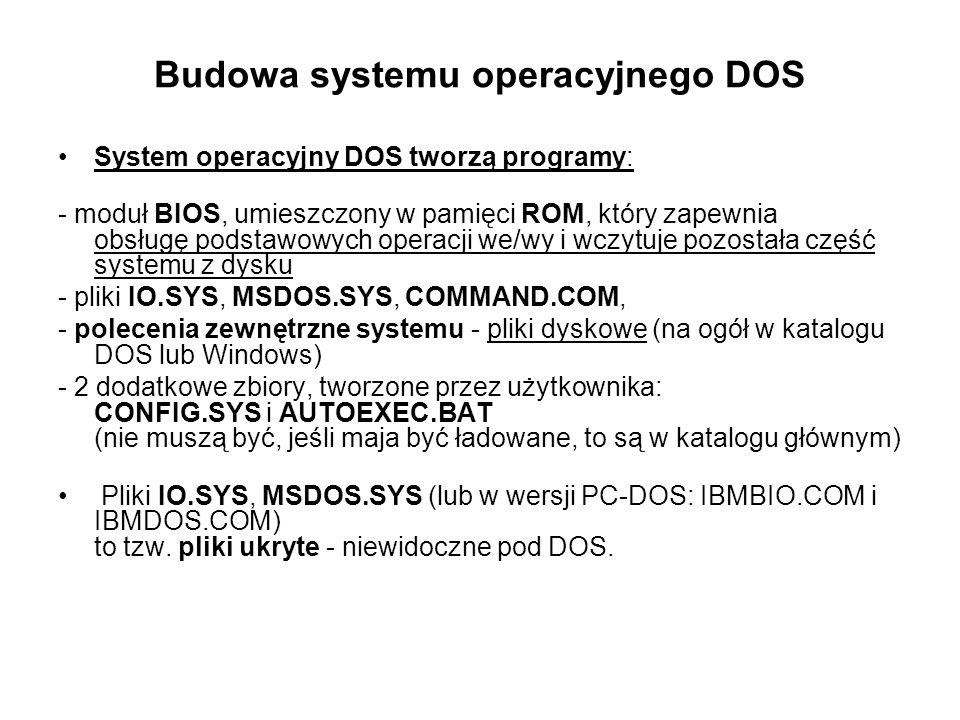 Budowa systemu operacyjnego DOS System operacyjny DOS tworzą programy: - moduł BIOS, umieszczony w pamięci ROM, który zapewnia obsługę podstawowych op