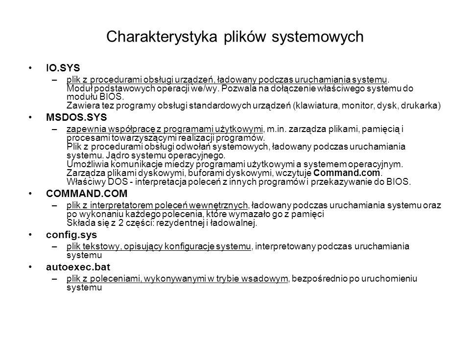 Charakterystyka plików systemowych IO.SYS –plik z procedurami obsługi urządzeń, ładowany podczas uruchamiania systemu. Moduł podstawowych operacji we/