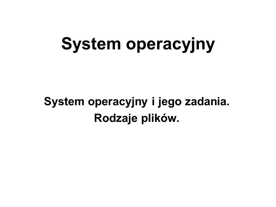 System operacyjny System operacyjny i jego zadania. Rodzaje plików.