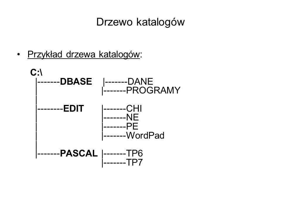 Drzewo katalogów Przykład drzewa katalogów: C:\ |-------DBASE |-------DANE | |-------PROGRAMY | |--------EDIT |-------CHI | |-------NE | |-------PE ||-------WordPad | |-------PASCAL |-------TP6 |-------TP7