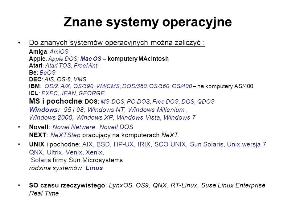 Znane systemy operacyjne Do znanych systemów operacyjnych można zaliczyć : Amiga: AmiOS Apple: Apple DOS, Mac OS – komputery MAcIntosh Atari: Atari TOS, FreeMint Be: BeOS DEC: AIS, OS-8, VMS IBM: OS/2.