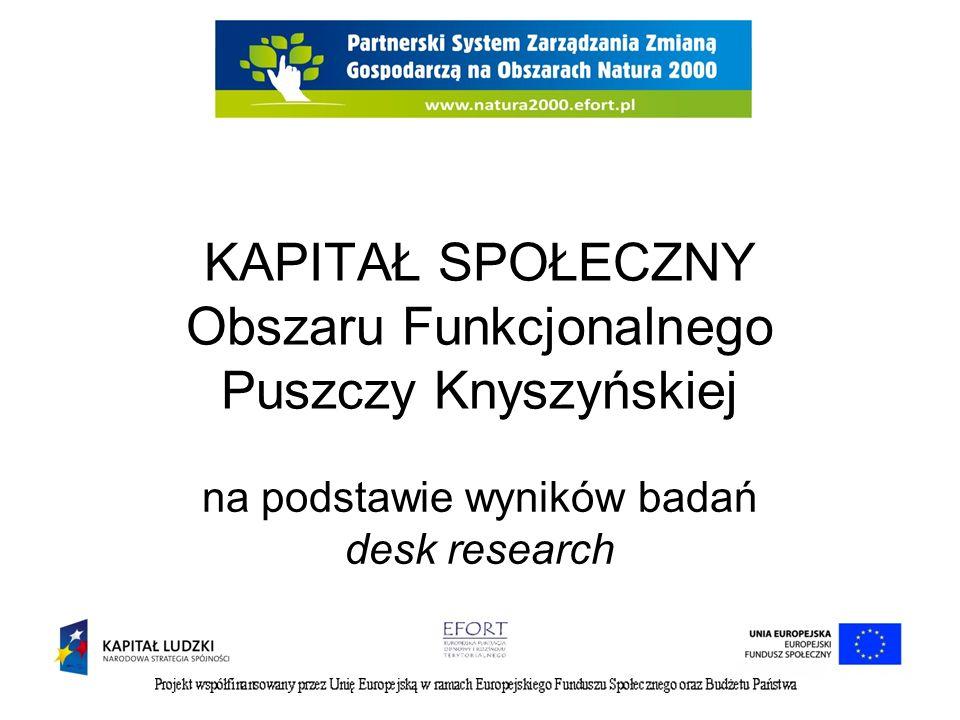 KAPITAŁ SPOŁECZNY Obszaru Funkcjonalnego Puszczy Knyszyńskiej na podstawie wyników badań desk research