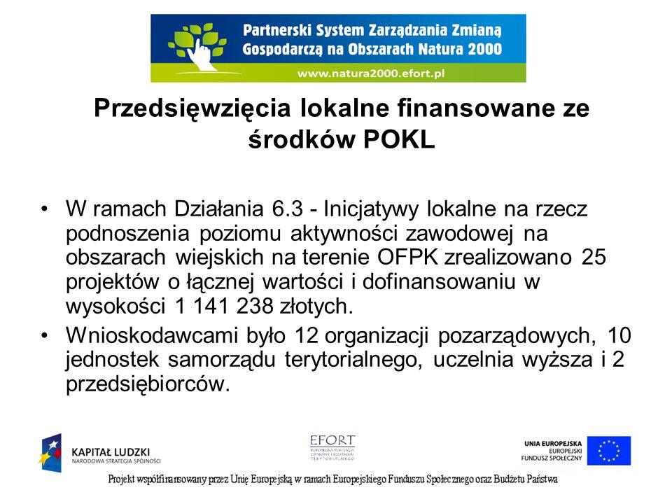 Przedsięwzięcia lokalne finansowane ze środków POKL W ramach Działania 6.3 - Inicjatywy lokalne na rzecz podnoszenia poziomu aktywności zawodowej na obszarach wiejskich na terenie OFPK zrealizowano 25 projektów o łącznej wartości i dofinansowaniu w wysokości 1 141 238 złotych.