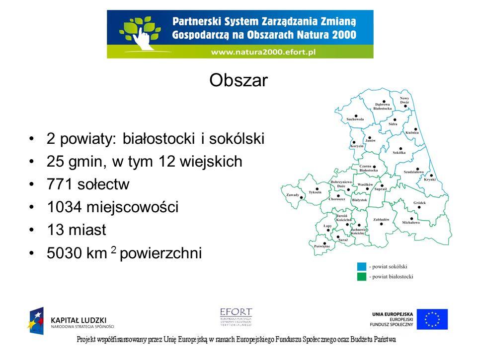 Obszar 2 powiaty: białostocki i sokólski 25 gmin, w tym 12 wiejskich 771 sołectw 1034 miejscowości 13 miast 5030 km 2 powierzchni