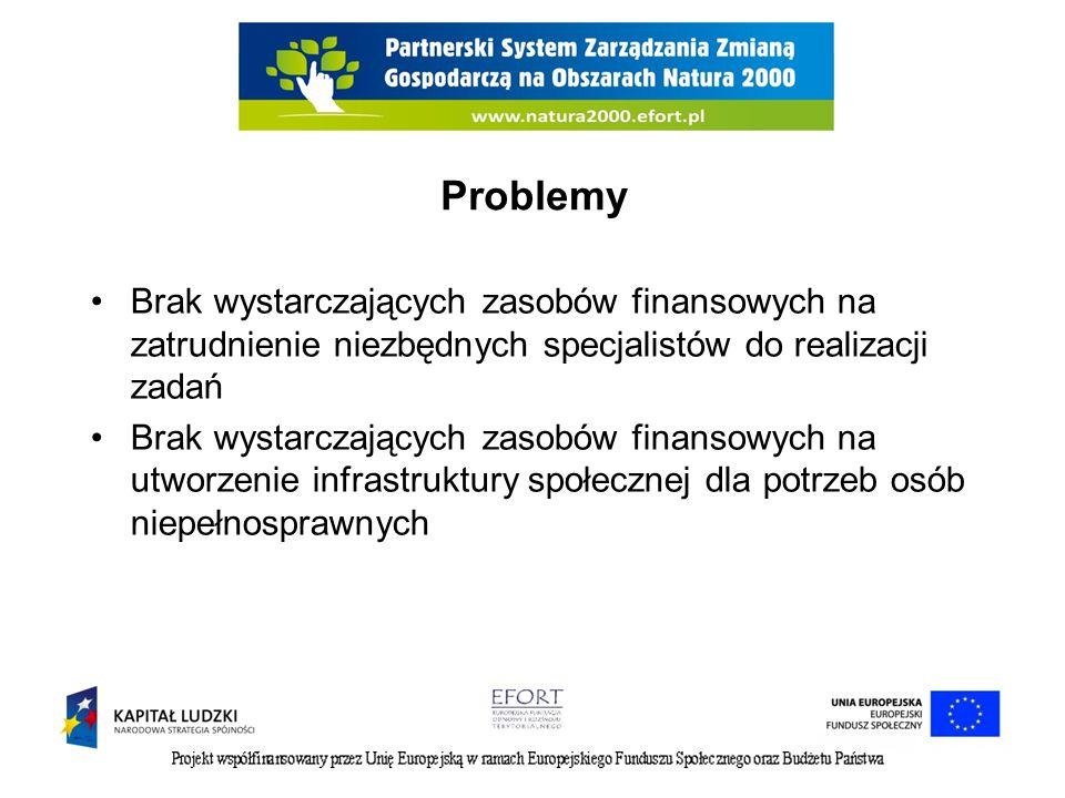 Brak wystarczających zasobów finansowych na zatrudnienie niezbędnych specjalistów do realizacji zadań Brak wystarczających zasobów finansowych na utworzenie infrastruktury społecznej dla potrzeb osób niepełnosprawnych Problemy