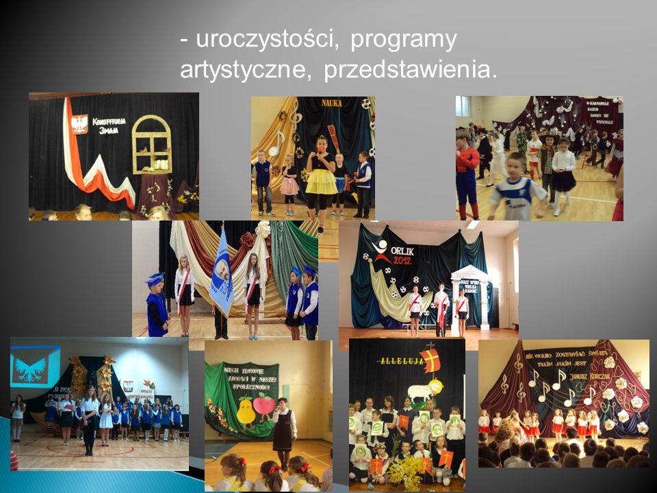 - uroczystości, programy artystyczne, przedstawienia.