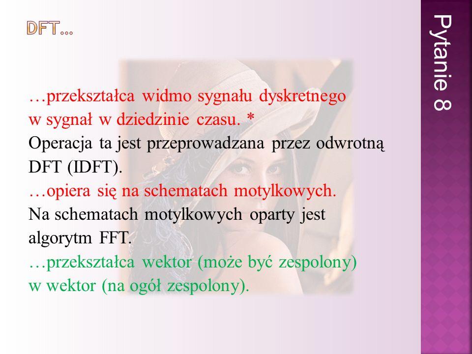 …przekształca widmo sygnału dyskretnego w sygnał w dziedzinie czasu. * Operacja ta jest przeprowadzana przez odwrotną DFT (IDFT). …opiera się na schem