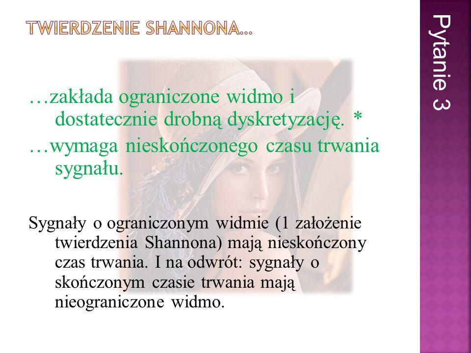 Twierdzenie to brzmi następująco: Jeżeli są spełnione następujące warunki: 1) nośnik widma sygnału jest ograniczony, tzn.
