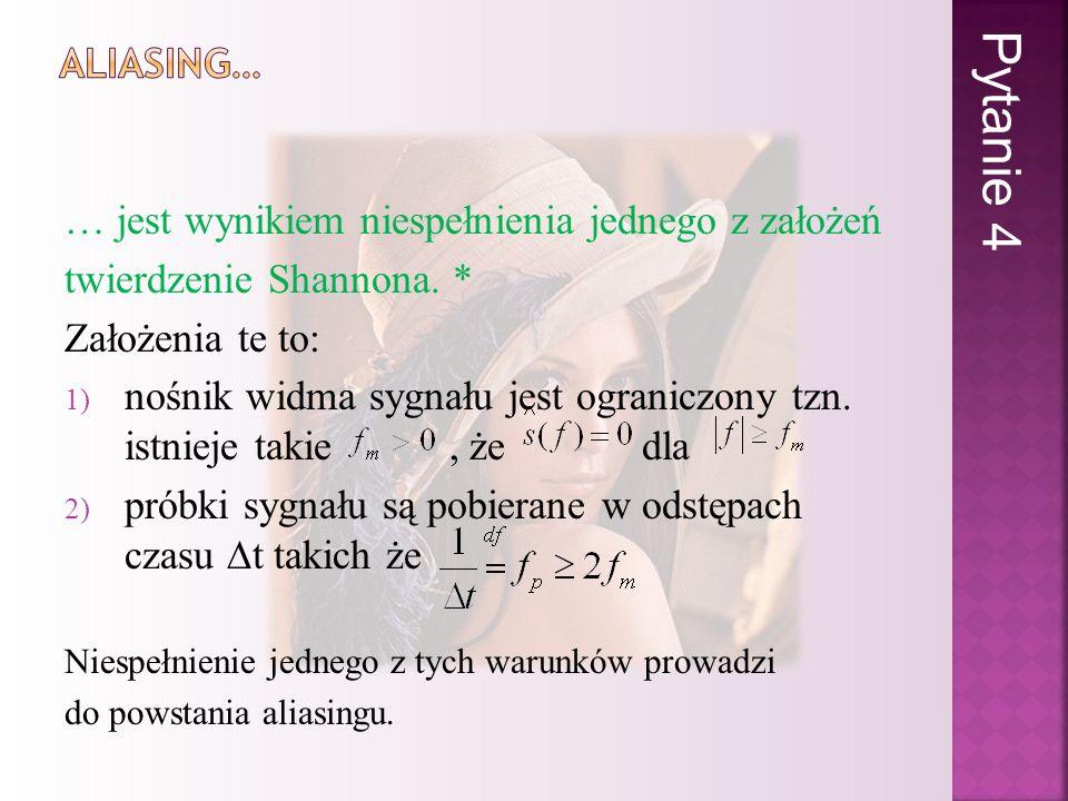 … jest wynikiem niespełnienia jednego z założeń twierdzenie Shannona. * Założenia te to: 1) nośnik widma sygnału jest ograniczony tzn. istnieje takie,