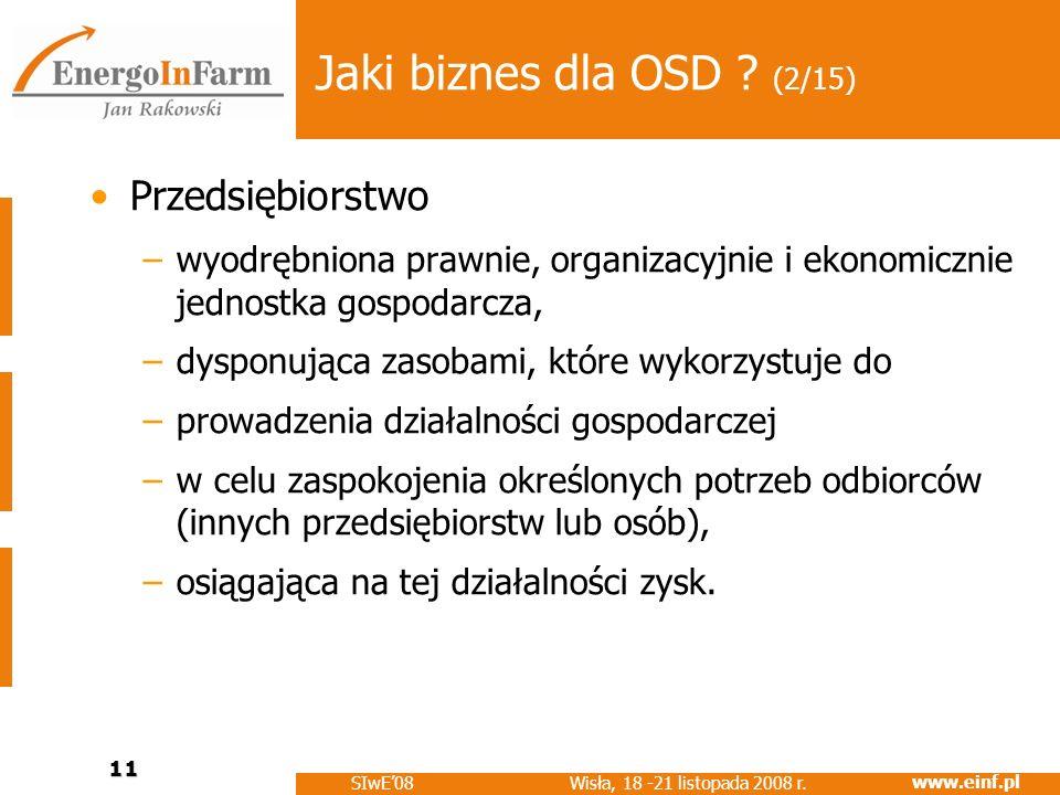 www.einf.pl Wisła, 18 -21 listopada 2008 r. SIwE08 11 Jaki biznes dla OSD ? (2/15) Przedsiębiorstwo –wyodrębniona prawnie, organizacyjnie i ekonomiczn