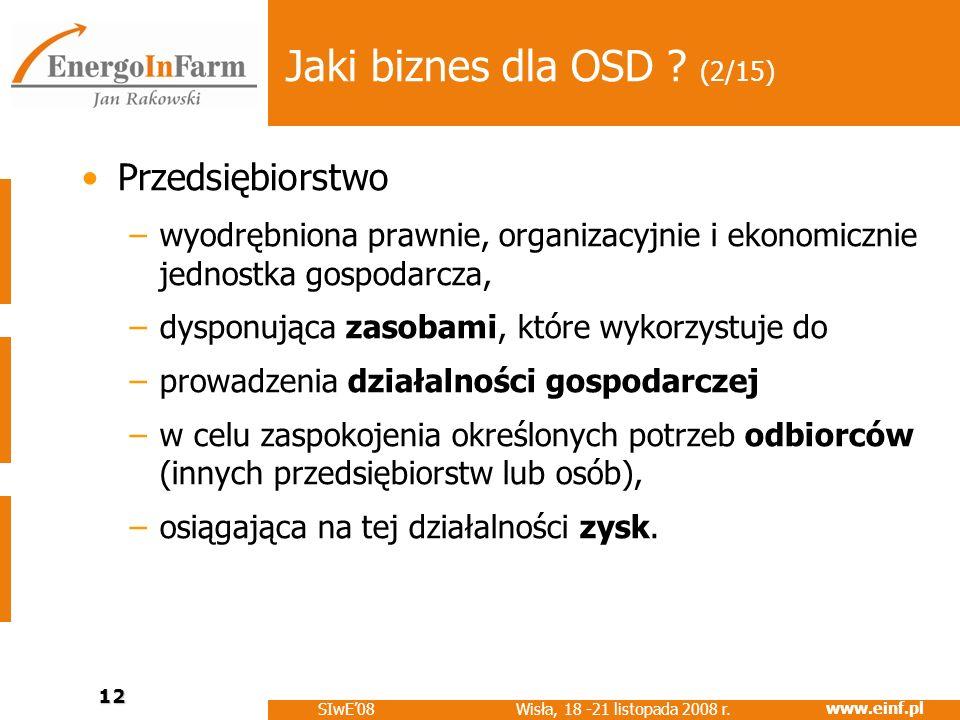 www.einf.pl Wisła, 18 -21 listopada 2008 r. SIwE08 12 Jaki biznes dla OSD ? (2/15) Przedsiębiorstwo –wyodrębniona prawnie, organizacyjnie i ekonomiczn