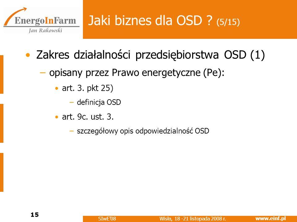 www.einf.pl Wisła, 18 -21 listopada 2008 r. SIwE08 15 Jaki biznes dla OSD ? (5/15) Zakres działalności przedsiębiorstwa OSD (1) –opisany przez Prawo e