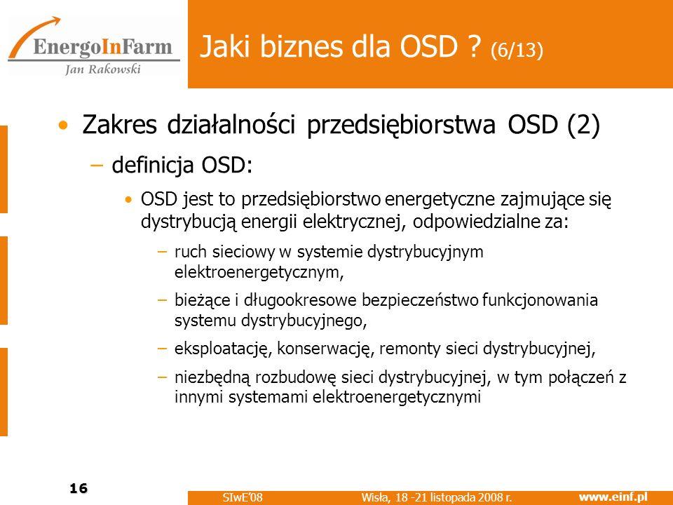www.einf.pl Wisła, 18 -21 listopada 2008 r. SIwE08 16 Jaki biznes dla OSD ? (6/13) Zakres działalności przedsiębiorstwa OSD (2) –definicja OSD: OSD je