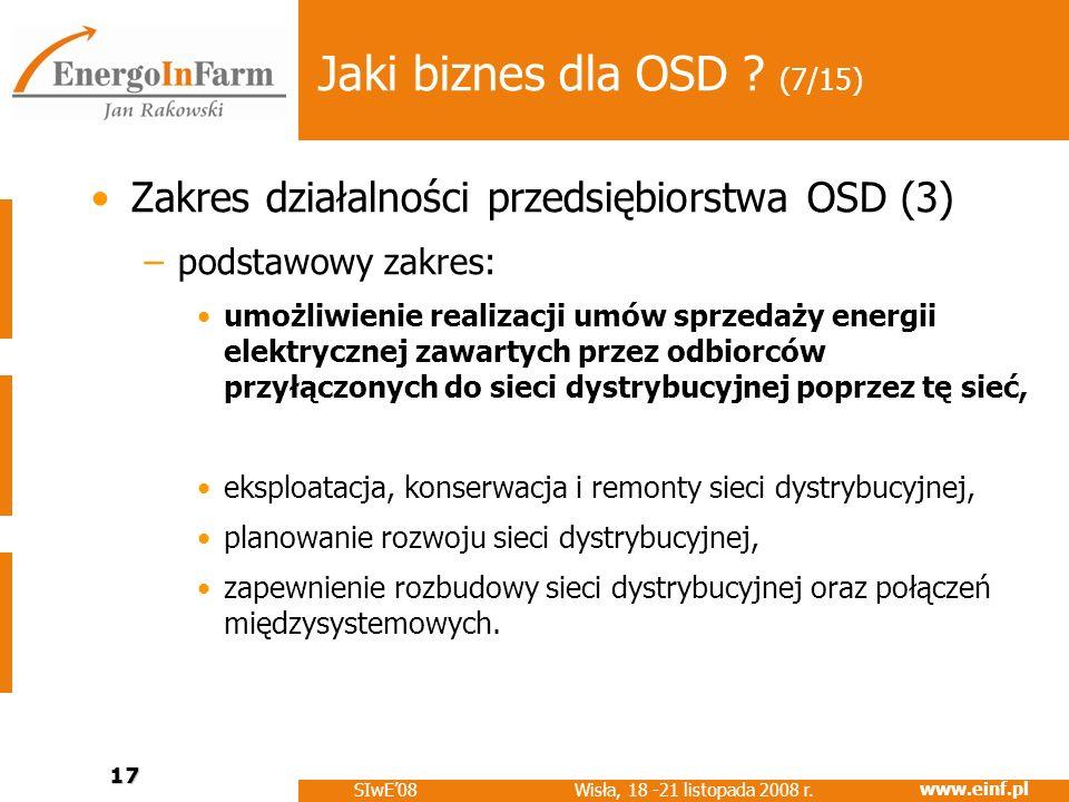 www.einf.pl Wisła, 18 -21 listopada 2008 r. SIwE08 17 Jaki biznes dla OSD ? (7/15) Zakres działalności przedsiębiorstwa OSD (3) –podstawowy zakres: um