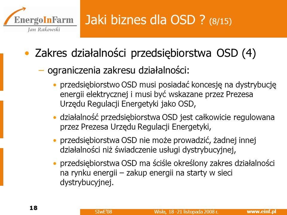 www.einf.pl Wisła, 18 -21 listopada 2008 r. SIwE08 18 Jaki biznes dla OSD ? (8/15) Zakres działalności przedsiębiorstwa OSD (4) –ograniczenia zakresu