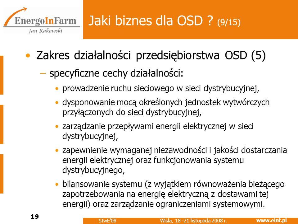 www.einf.pl Wisła, 18 -21 listopada 2008 r. SIwE08 19 Jaki biznes dla OSD ? (9/15) Zakres działalności przedsiębiorstwa OSD (5) –specyficzne cechy dzi