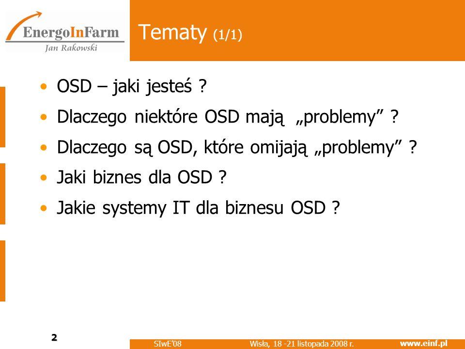 www.einf.pl Wisła, 18 -21 listopada 2008 r. SIwE08 2 Tematy (1/1) OSD – jaki jesteś ? Dlaczego niektóre OSD mają problemy ? Dlaczego są OSD, które omi
