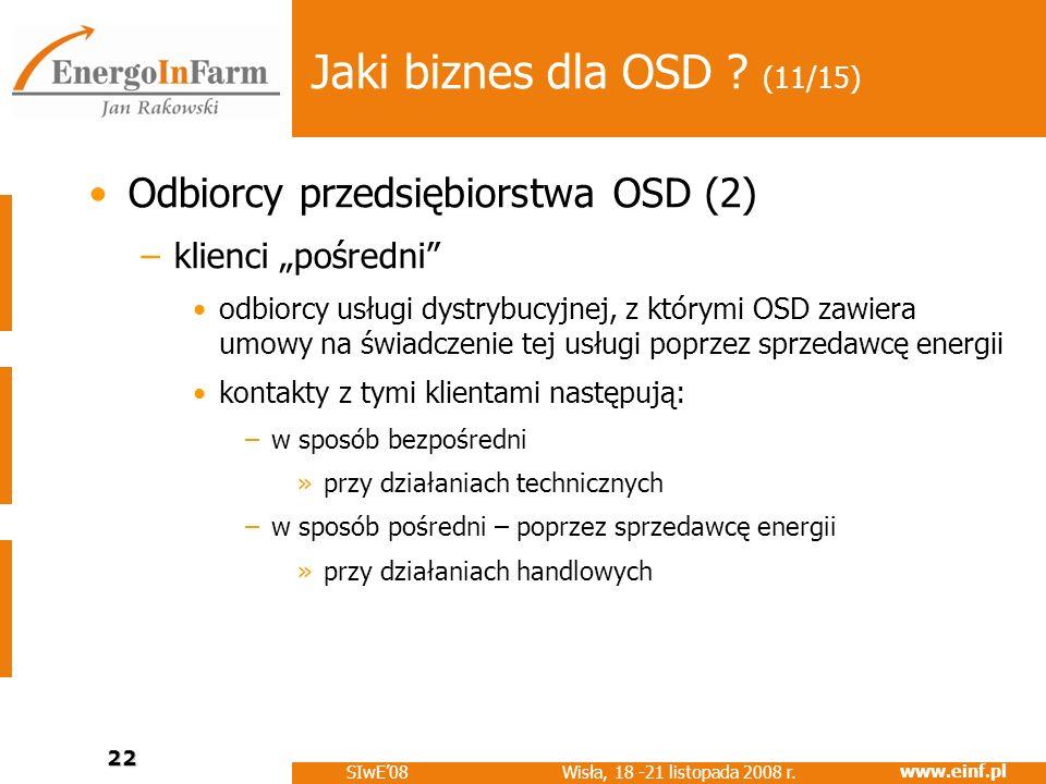 www.einf.pl Wisła, 18 -21 listopada 2008 r. SIwE08 22 Jaki biznes dla OSD ? (11/15) Odbiorcy przedsiębiorstwa OSD (2) –klienci pośredni odbiorcy usług
