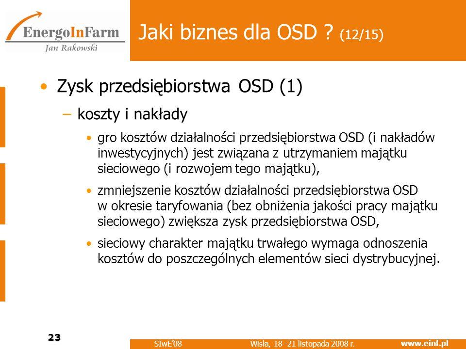 www.einf.pl Wisła, 18 -21 listopada 2008 r. SIwE08 23 Jaki biznes dla OSD ? (12/15) Zysk przedsiębiorstwa OSD (1) –koszty i nakłady gro kosztów działa