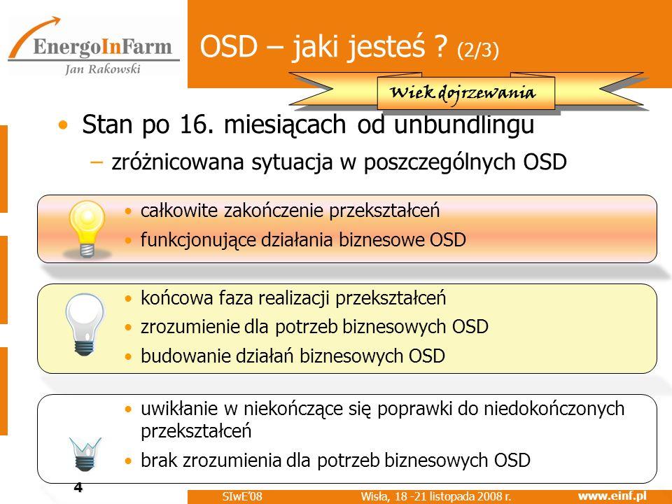 www.einf.pl Wisła, 18 -21 listopada 2008 r. SIwE08 4 OSD – jaki jesteś ? (2/3) Stan po 16. miesiącach od unbundlingu –zróżnicowana sytuacja w poszczeg