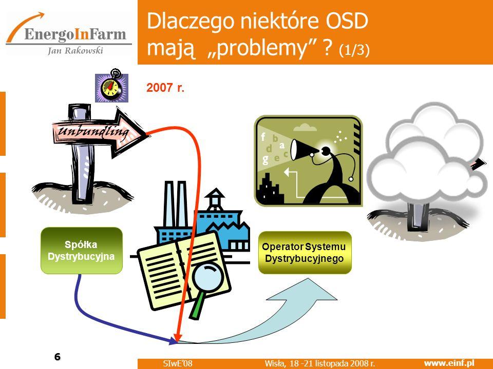 www.einf.pl Wisła, 18 -21 listopada 2008 r. SIwE08 6 Dlaczego niektóre OSD mają problemy ? (1/3) Operator Systemu Dystrybucyjnego Spółka Dystrybucyjna