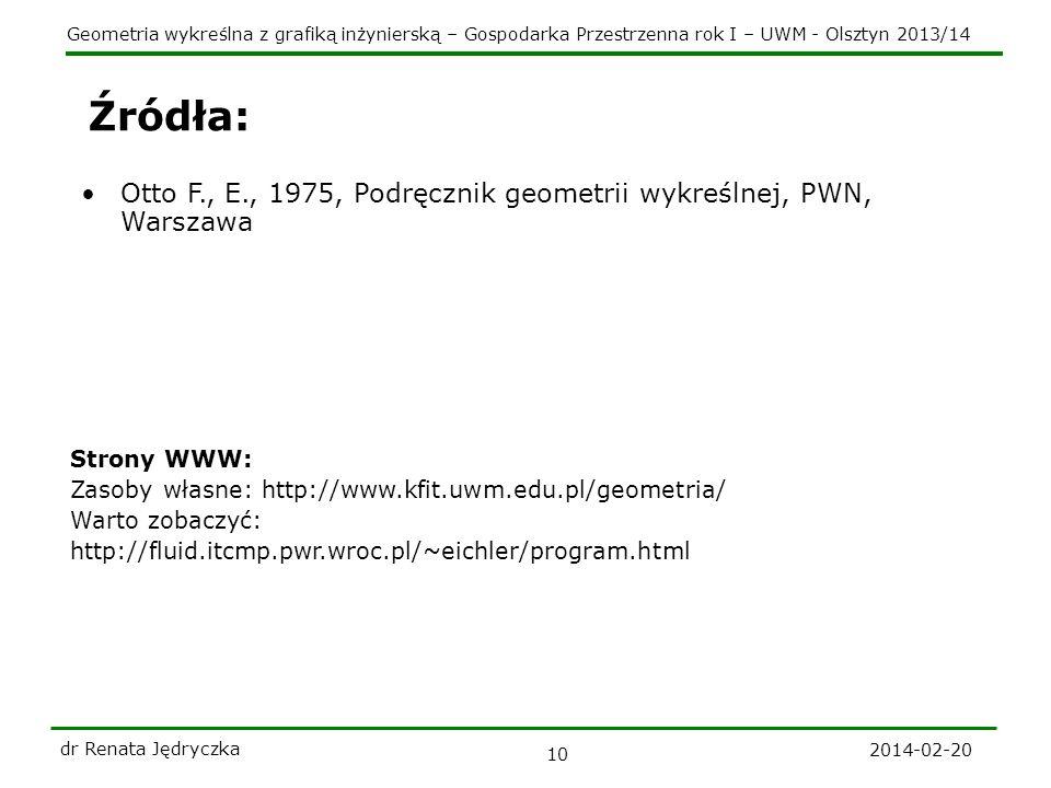 Geometria wykreślna z grafiką inżynierską – Gospodarka Przestrzenna rok I – UWM - Olsztyn 2013/14 2014-02-20 dr Renata Jędryczka 10 Źródła: Otto F., E., 1975, Podręcznik geometrii wykreślnej, PWN, Warszawa Strony WWW: Zasoby własne: http://www.kfit.uwm.edu.pl/geometria/ Warto zobaczyć: http://fluid.itcmp.pwr.wroc.pl/~eichler/program.html