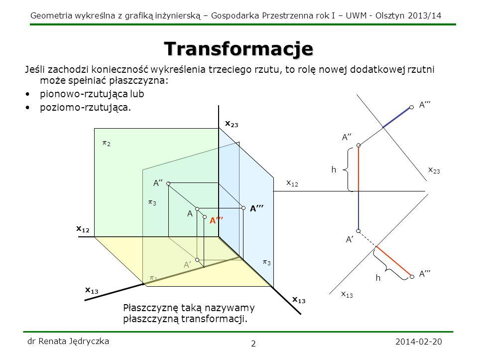 Geometria wykreślna z grafiką inżynierską – Gospodarka Przestrzenna rok I – UWM - Olsztyn 2013/14 2014-02-20 dr Renata Jędryczka 2 Transformacje 2 1 A