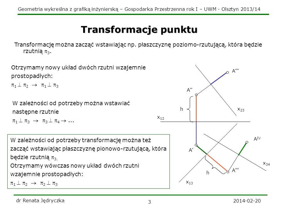 Geometria wykreślna z grafiką inżynierską – Gospodarka Przestrzenna rok I – UWM - Olsztyn 2013/14 2014-02-20 dr Renata Jędryczka 3 x 34 A IV Transformacje punktu x 12 A A h A x 13 h Transformację można zacząć wstawiając np.