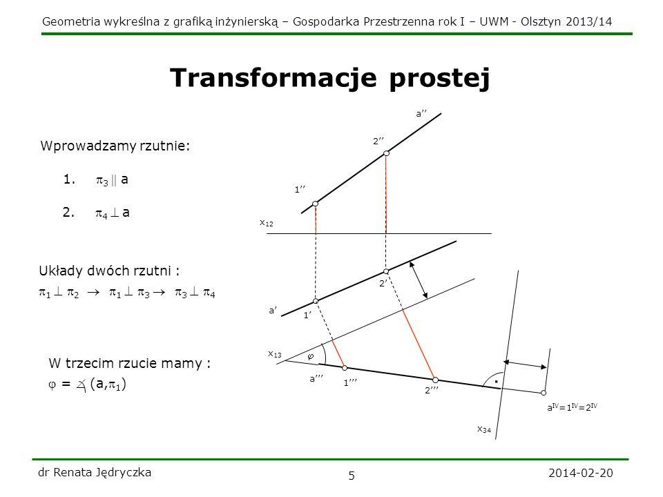 Geometria wykreślna z grafiką inżynierską – Gospodarka Przestrzenna rok I – UWM - Olsztyn 2013/14 2014-02-20 dr Renata Jędryczka 5 Transformacje prostej x 12 a a 1 1 2 2 x 13 1 2 a a IV =1 IV =2 IV Wprowadzamy rzutnie: 1.