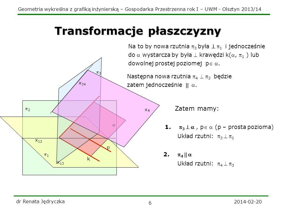 Geometria wykreślna z grafiką inżynierską – Gospodarka Przestrzenna rok I – UWM - Olsztyn 2013/14 Transformacje płaszczyzny 2014-02-20 dr Renata Jędry
