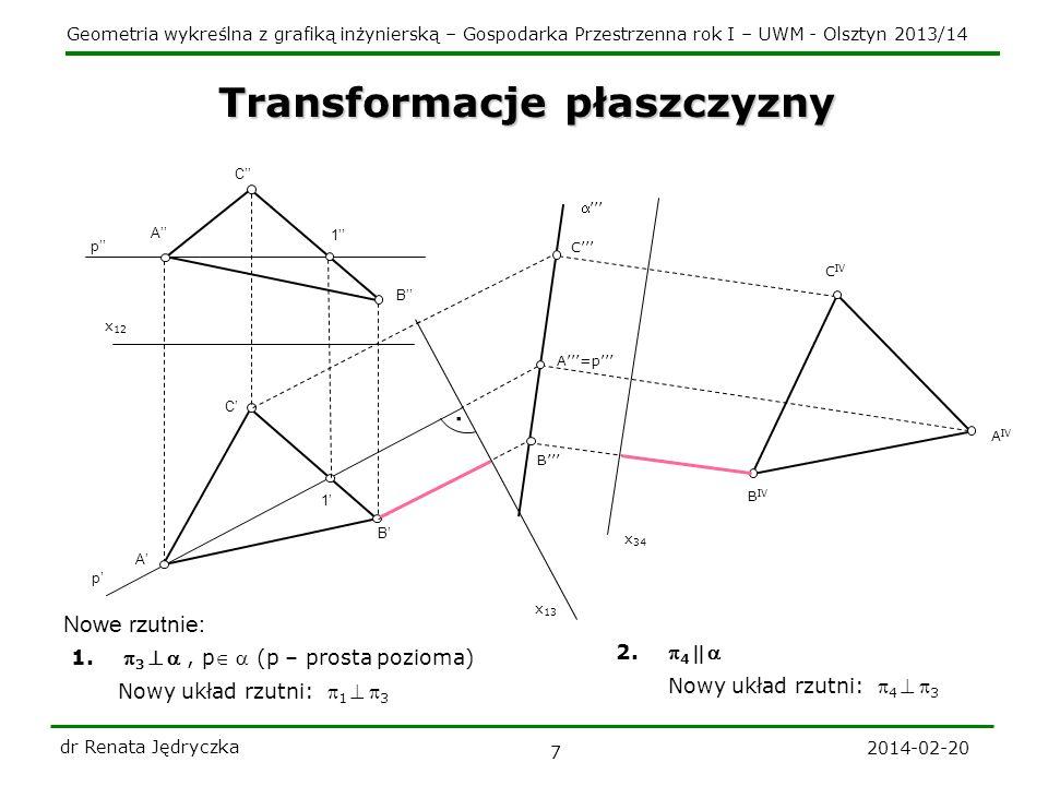 Geometria wykreślna z grafiką inżynierską – Gospodarka Przestrzenna rok I – UWM - Olsztyn 2013/14 2014-02-20 dr Renata Jędryczka 8 p p 1 1 Powrót punktu - do rzutów poziomego i pionowego x 12 A A B C C B.