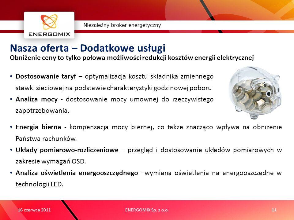 ENERGOMIX Sp. z o.o.11 Nasza oferta – Dodatkowe usługi Obniżenie ceny to tylko połowa możliwości redukcji kosztów energii elektrycznej 16 czerwca 2011