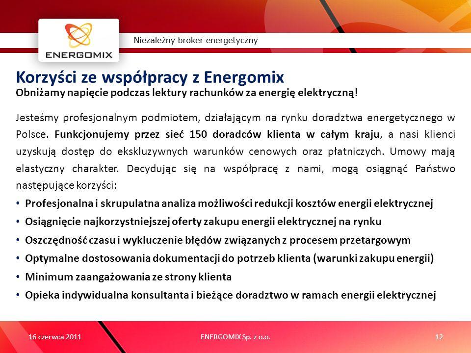 ENERGOMIX Sp. z o.o.12 Korzyści ze współpracy z Energomix Jesteśmy profesjonalnym podmiotem, działającym na rynku doradztwa energetycznego w Polsce. F
