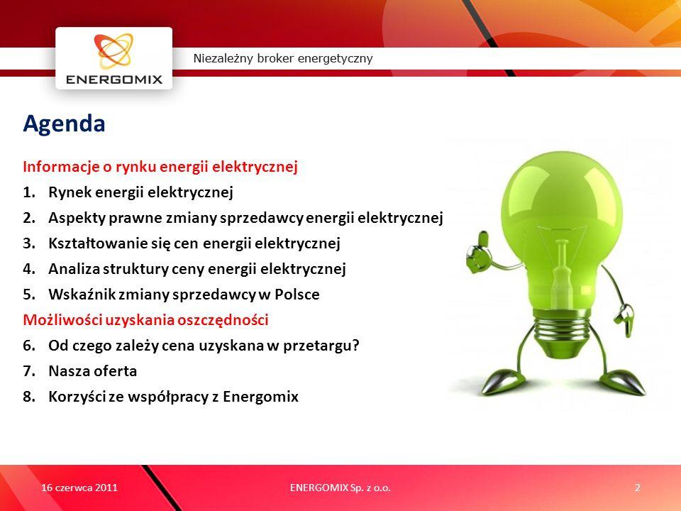 16 czerwca 2011ENERGOMIX Sp. z o.o.2 Agenda Informacje o rynku energii elektrycznej 1.Rynek energii elektrycznej 2.Aspekty prawne zmiany sprzedawcy en