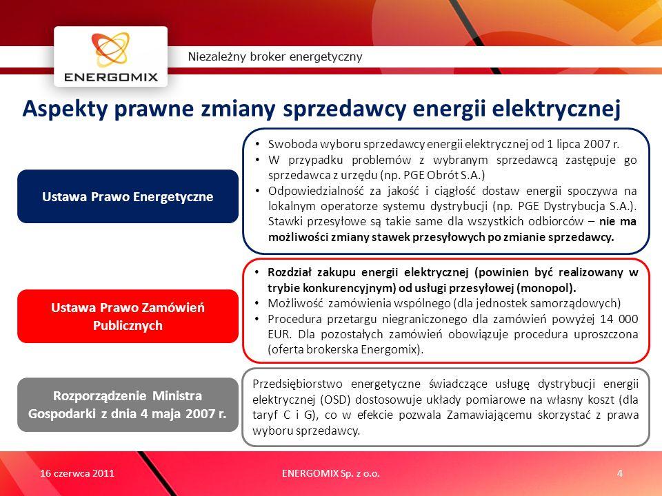 ENERGOMIX Sp. z o.o.4 Aspekty prawne zmiany sprzedawcy energii elektrycznej 16 czerwca 2011 Ustawa Prawo Energetyczne Ustawa Prawo Zamówień Publicznyc