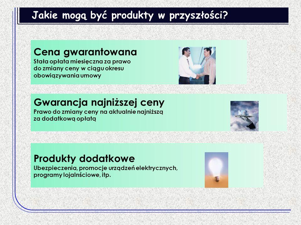 Jakie mogą być produkty w przyszłości? Produkty dodatkowe Ubezpieczenia, promocje urządzeń elektrycznych, programy lojalnściowe, itp. Gwarancja najniż