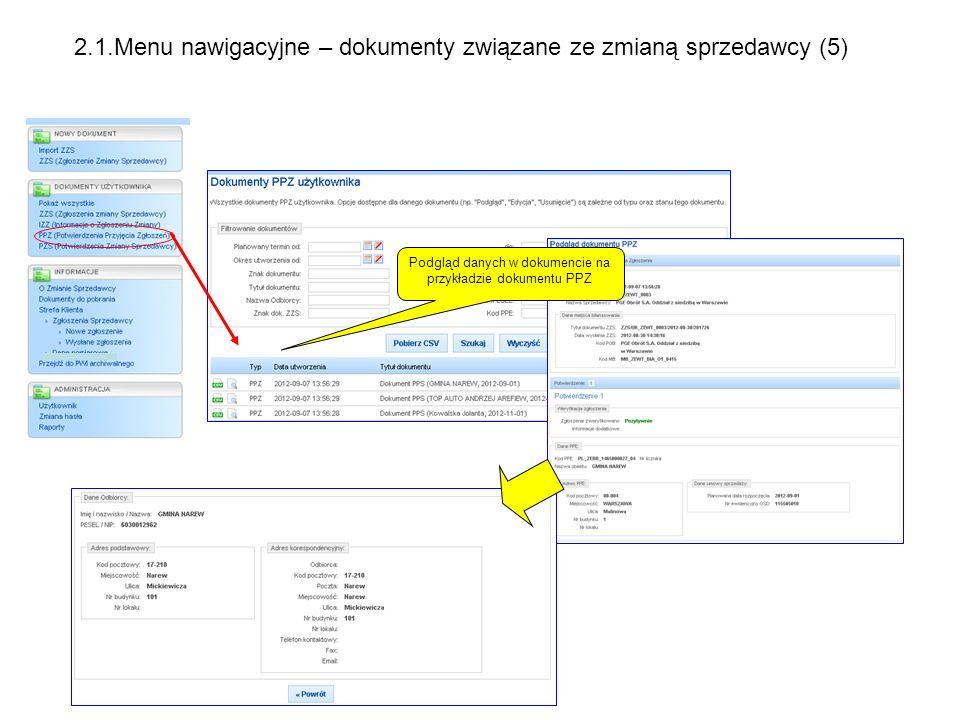 Podgląd danych w dokumencie na przykładzie dokumentu PPZ 2.1.Menu nawigacyjne – dokumenty związane ze zmianą sprzedawcy (5)