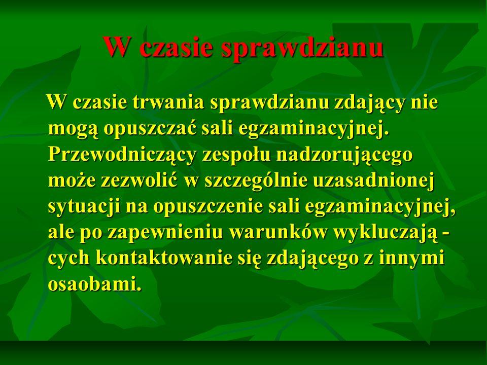 Wyniki wypisane są na zaświadczeniach wystawionych przez OKE w Łodzi.
