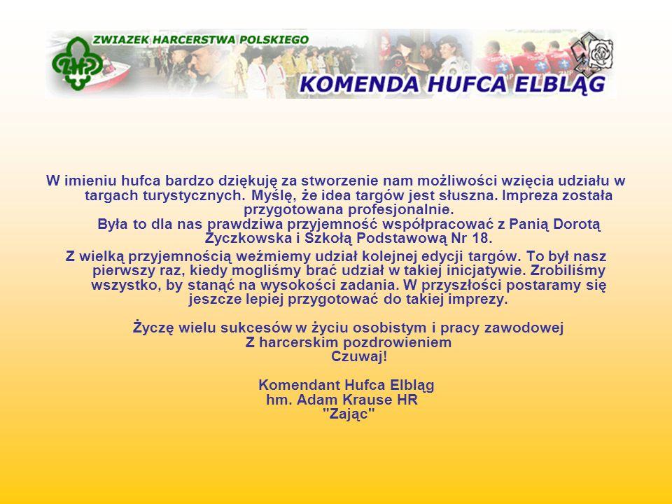 W imieniu hufca bardzo dziękuję za stworzenie nam możliwości wzięcia udziału w targach turystycznych.