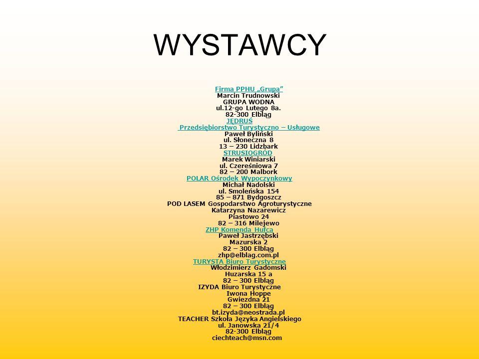 WYSTAWCY Firma PPHU Grupa Marcin Trudnowski GRUPA WODNA ul.12-go Lutego 8a. 82-300 ElblągFirma PPHU Grupa JĘDRUŚ Przedsiębiorstwo Turystyczno – Usługo
