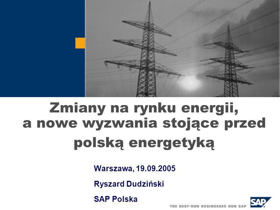 Zmiany na rynku energii, a nowe wyzwania stojące przed polską energetyką Warszawa, 19.09.2005 Ryszard Dudziński SAP Polska